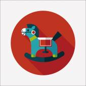Horse toy flat icon with long shadow,eps10 — Wektor stockowy