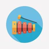 Xylophone flat icon with long shadow,eps10 — Vettoriale Stock