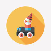 Hračka auto ploché ikony s dlouhý stín — Stock vektor