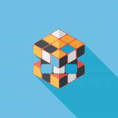 Toy cube flat icon with long shadow,eps10 — Vettoriale Stock