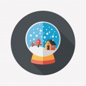 snow globe and gifts flat icon with long shadow,eps 10 — Wektor stockowy