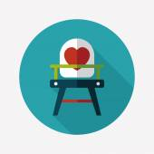 Baby high chair flat icon with long shadow,eps10 — Vettoriale Stock