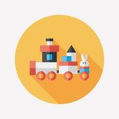 Pociąg zabawka płaskie ikona z długim cieniem, eps 10 — Wektor stockowy