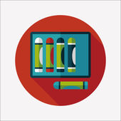 Crayons flat icon with long shadow,eps10 — Vettoriale Stock