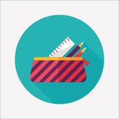 Ícone de lápis caixa plana com sombra longa, eps10 — Vetor de Stock