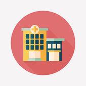 Nemocniční budova ploché ikony s dlouhý stín — Stock vektor