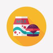 Hamburger and milk flat icon with long shadow,eps10 — Stock Vector