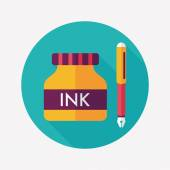 Pen and  ink bottle flat icon with long shadow,eps10 — Stok Vektör