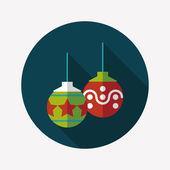 Christmas ball flat icon with long shadow,eps10 — Stock Vector