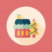 Xmas tree and house flat icon with long shadow,eps10 — Stock Vector