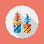 Weihnachten Kerze flache Icon mit langen Schatten, eps10 — Stockvektor