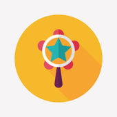 Baby rattle flat icon with long shadow,eps10 — Wektor stockowy