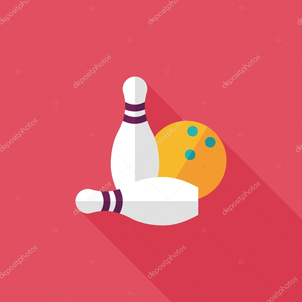 Bowling Game Flat Icon With