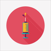 Syringe flat icon with long shadow — Stock Vector