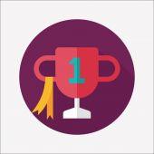 Icona piatto di trofeo coppa con lunga ombra, eps10 — Vettoriale Stock