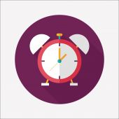 Alarm clock flat icon with long shadow,eps10 — Stock vektor