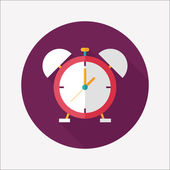 Alarm clock flat icon with long shadow,eps10 — Stockvektor