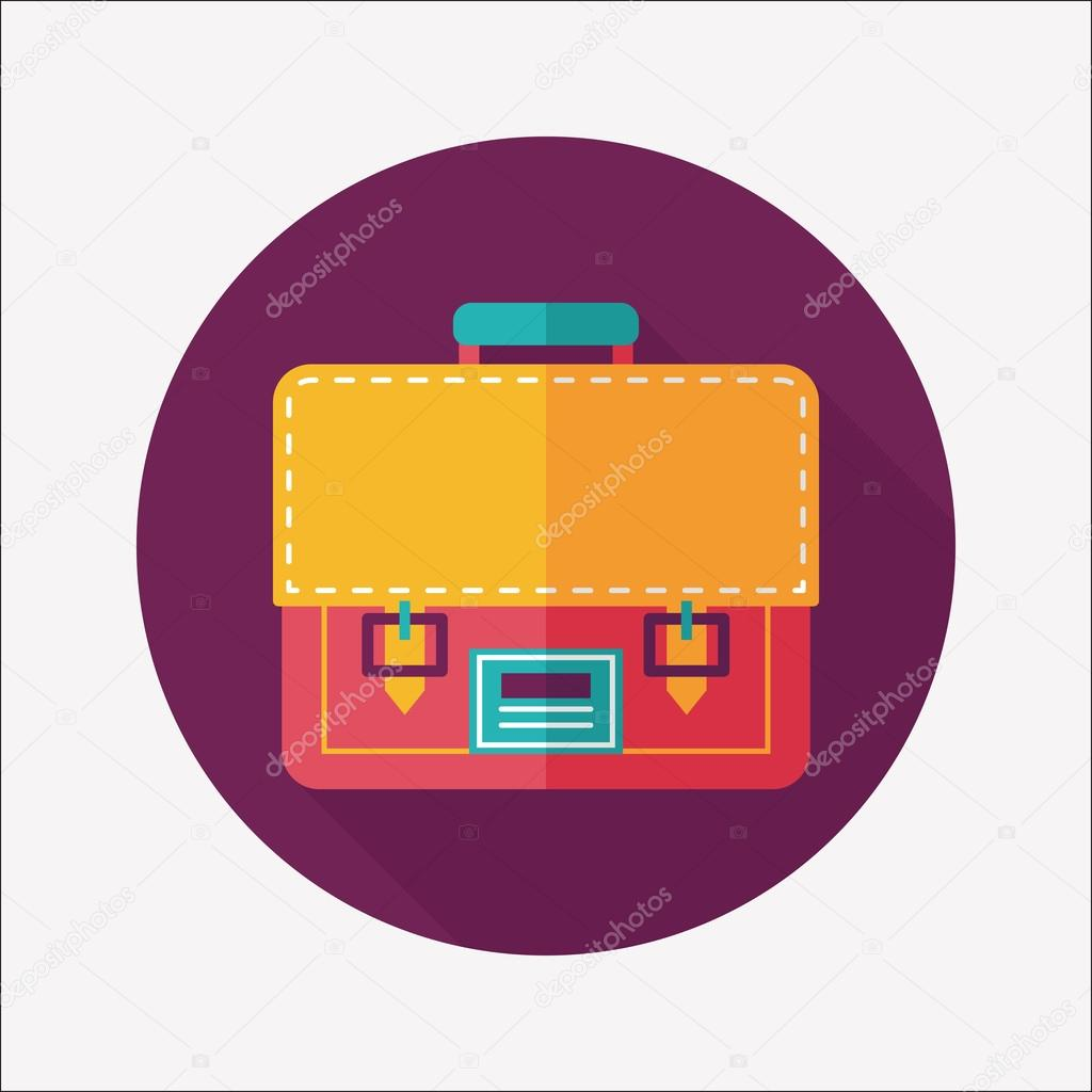 School bag diagram - Briefcase School Bag Flat Icon With Long Shadow Eps10 Stock Illustration