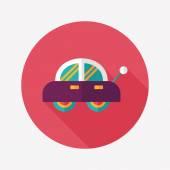 Icona piatto di auto giocattolo con lunga ombra — Vettoriale Stock