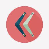 Boomerang flat icon with long shadow — Stock Vector