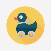 Duck toy flat icon with long shadow,eps10 — Vettoriale Stock