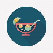 Cocktail flat icon with long shadow — Vettoriale Stock
