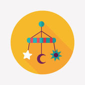 Baby crib hanging toy flat icon with long shadow,EPS 10 — Stock Vector