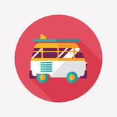 Transportation bus flat icon with long shadow — Stock Vector