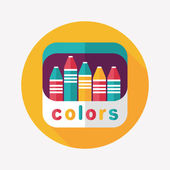 Crayons flat icon with long shadow,eps10 — Stok Vektör