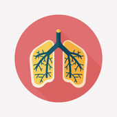 Lungs flat icon with long shadow — Stock Vector