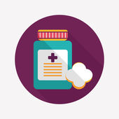 Medical Bottle flat icon with long shadow — Stock vektor