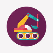 Excavator digger flat icon with long shadow,eps 10 — Stockvector