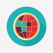 Globe icon, flat icon with long shadow — Vecteur