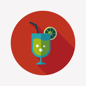 Cocktail flat icon with long shadow — Stockvektor