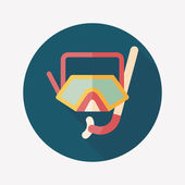 Mask and snorkel flat icon with long shadow — ストックベクタ