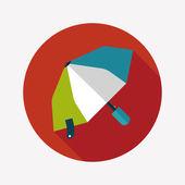 Umbrella flat icon with long shadow — Vector de stock