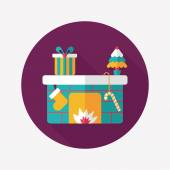 Christmas fireplace flat icon with long shadow,eps10 — ストックベクタ