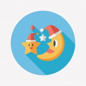 Moon and star with Christmas hat flat icon with long shadow, eps — Stock Vector