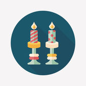 Christmas candle flat icon with long shadow,eps10 — Stockvector