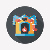 Christmas fireplace decoration flat icon with long shadow eps10 — Stock Vector