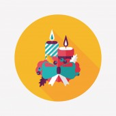 Christmas candle flat icon with long shadow.eps10 — Stok Vektör