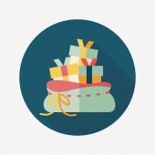 Christmas girl flat icon with long shadow,eps10 — Stock Vector