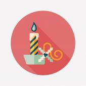 Christmas candle flat icon with long shadow,eps10 — Stok Vektör