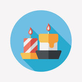Christmas candle flat icon with long shadow,eps10 — Vecteur