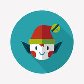 Christmas elf flat icon with long shadow,eps10 — Stock Vector