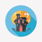 Halloween house flat icon with long shadow,eps10 — Stock Vector