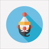 Santa Claus flat icon with long shadow, eps10 — Vettoriale Stock