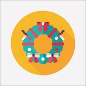 Christmas Holly Wreath flat icon with long shadow,eps10 — 图库矢量图片