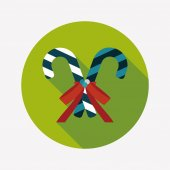 Christmas candy cane flat icon with long shadow,eps10 — 图库矢量图片