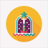 Christmas candle flat icon with long shadow,eps10 — Vetorial Stock